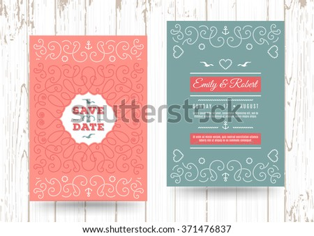 Nautical Wedding Invitation Card Templates - Download Free Vector ...