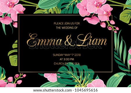 Wedding invitation card template. Pink orchid phalaenopsis flowers. Exotic tropical jungle bright green palm tree monstera leaves. Border frame dark black night background. Golden text placeholder.
