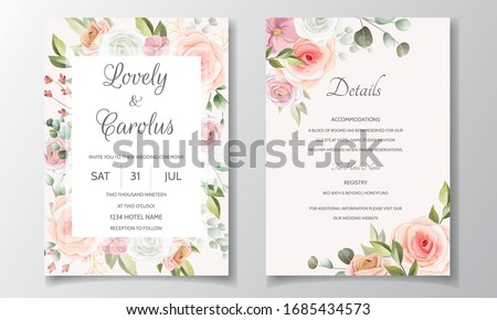 Wedding invitation card template set with beautiful rose and leaves