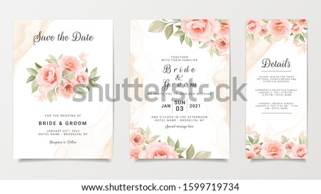 Wedding invitation card template set with flower bouquet. Peach roses with fluid background. Floral illustration for save the date, greeting, poster, cover vector