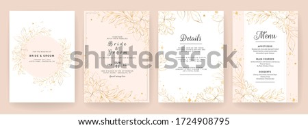 Wedding invitation card template set with line art floral decoration. Abstract background save the date, invitation, greeting card, multi-purpose vector