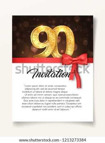 Wedding Invitation card template to the day of the ninety anniversary with abstract text vector illustration. Invite to 90 th years eve jubilee
