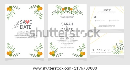 wedding invitation card template Vector illustration. #1196739808