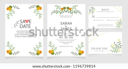 wedding invitation card template Vector illustration. #1196739814
