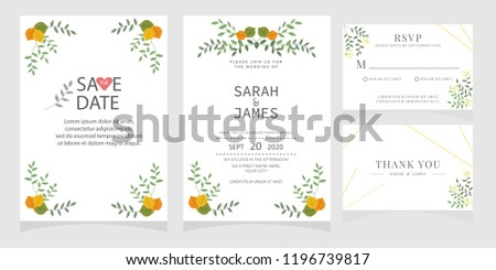 wedding invitation card template Vector illustration. #1196739817