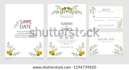wedding invitation card template Vector illustration. #1196739820