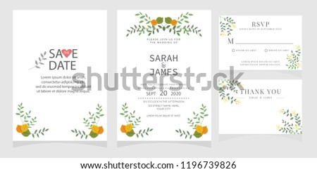 wedding invitation card template Vector illustration. #1196739826
