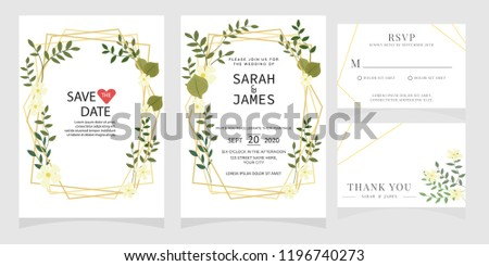 wedding invitation card template Vector illustration. #1196740273