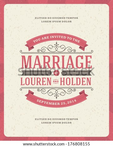 Wedding invitation card template vector vintage background. Retro typographic  #176808155
