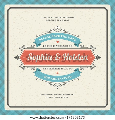 Wedding invitation card template vector vintage background Retro typographic