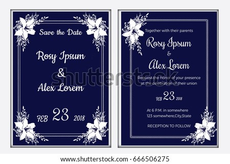 wedding invitation card template with blue color flower floral background. Vector illustration.