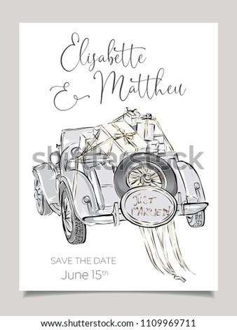 Wedding invitation card template with cabriolet car vector illustration. Clip art set black and white wedding art