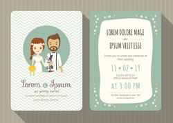 wedding invitation card template with cute hipster groom and bride cartoon