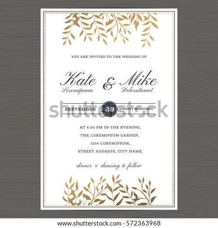 Wedding invitation card template with golden color flower floral background. Vector illustration.
