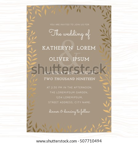 Wedding invitation card template with golden color leaf on background. Vector illustration.