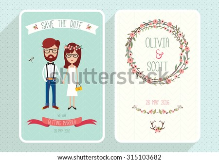 Wedding invitation card template with hipsters Collection of two wedding cards