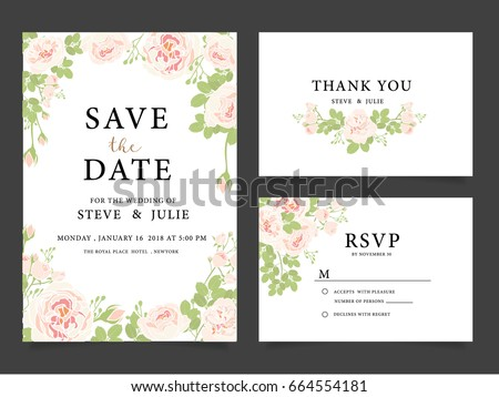 wedding invitation card template with text and flower #664554181