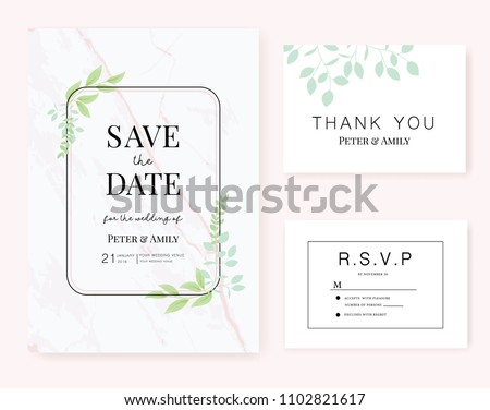 wedding invitation card  template with text and flower , plant , leaf
