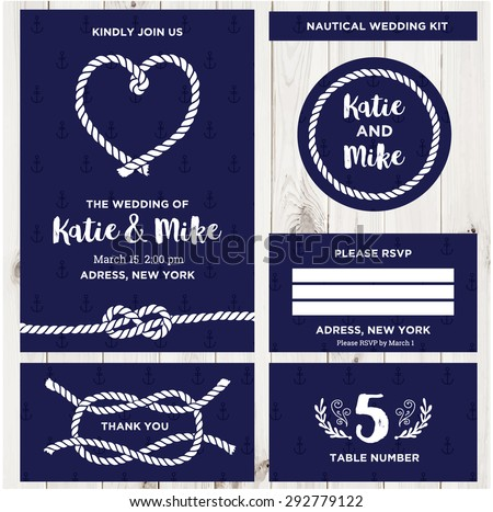Nautical wedding invitation card templates download free vector wedding invitation card templates in nautical style stopboris Images