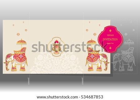 Indian wedding card background download free vector art stock wedding invitation card templates with gold elephant patterned and crystals on paper color square size stopboris Image collections