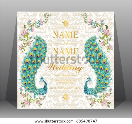 Indian wedding card background download free vector art stock wedding invitation card templates with peacock patterned and crystals on on lace floral pattern background stopboris Gallery