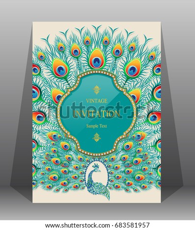 Wedding Invitation card templates with peacock patterned and crystals on paper color.