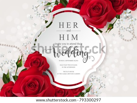 Lovely Flower Wedding Invitation Card Design Download Free Vector