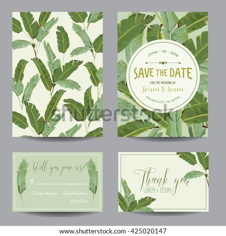 Wedding Invitation Card. Tropical Flowers Background. Banana. Save the Date.  Vector Template. RSVP.