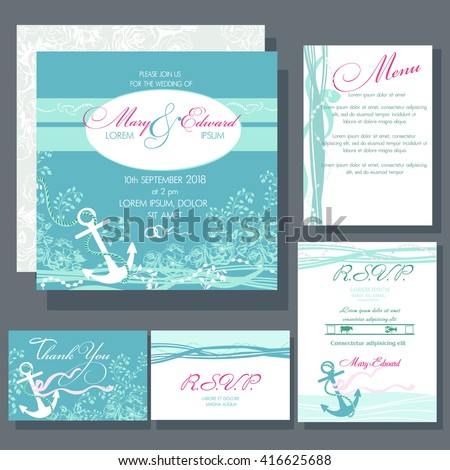 wedding invitation card with anchor in blue colors ocean and