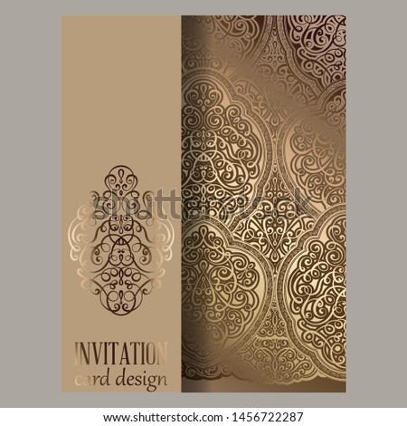 Wedding invitation card with beige and gold shiny eastern and baroque rich foliage. Ornate islamic background for your design. Islam, Arabic, Indian, Dubai
