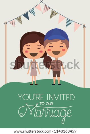 wedding invitation card with couple characters #1148168459