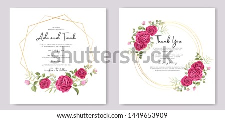 wedding invitation card with floral and leaves frame template #1449653909