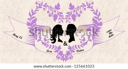 Wedding Invitation Card with floral heart, may be used for Valentine design, vector