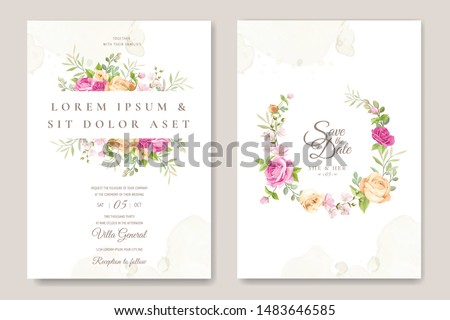 wedding invitation card with floral wreath background template