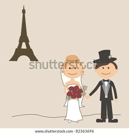 stock vector Wedding invitation card with funny bride and groom and Eiffel