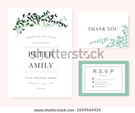 Wedding Invitation card with green plant #1049964434