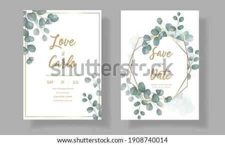 Wedding invitation card with greenery eucalyptus leaves