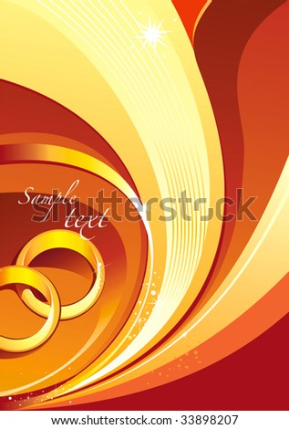 stock vector Wedding invitation card with rings and swirls vector
