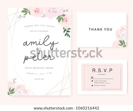 Wedding invitation card with rose and gold. #1060216442