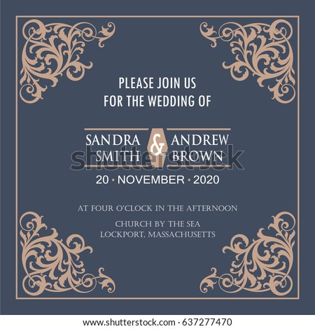 Wedding invitation card design with decorative elements download wedding invitation card with vintage floral elements vector illustration stopboris Gallery