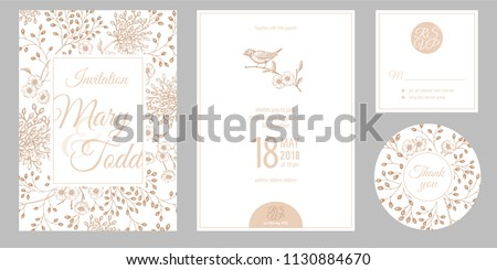 Wedding invitation cards and cover. Invite, thank you, rsvp templates. Decoration with garden flowers, bird, frame pattern. Floral vector illustration set. Vintage. Oriental style. White, gold foil