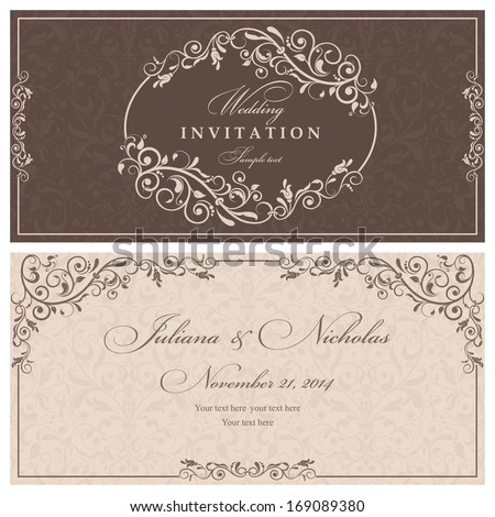 Wedding invitation cards baroque style brown and beige. Vintage Pattern. Retro Victorian ornament. Frame with flowers elements. Vector illustration.