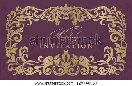 Wedding invitation cards baroque style gold and burgundy. Vintage Pattern. Damascus style ornament. Frame with flowers elements. Vector illustration.