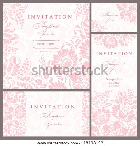 Vector pink floral wedding invitation download free vector art wedding invitation cards baroque style pink and beige vintage pattern retro victorian ornament stopboris Images