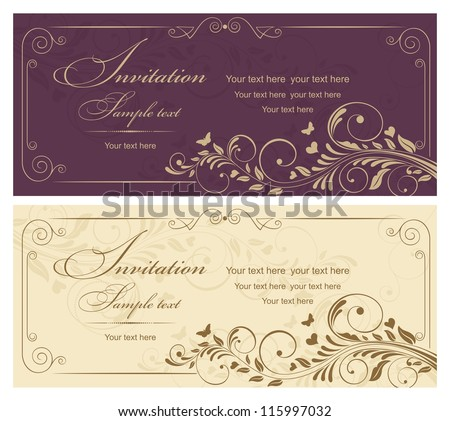Wedding invitation cards baroque style vinous and gold. Vintage Pattern. Retro Victorian ornament. Frame with flowers elements. Vector illustration.