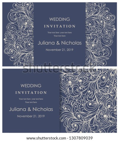 Wedding invitation cards.  Hand drawn floral doodle background. Flowers Pattern. Retro ornament. Summer ornament. Vector illustration.