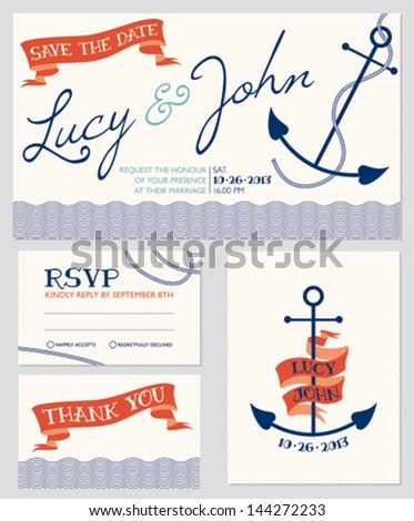 Wedding invitation cards set nautical style number 5