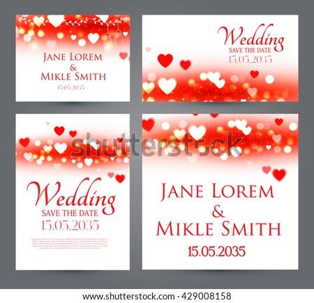 Wedding Invitation Cards Template Set with Heards and Bokeh Elements. Vector illustration #429008158