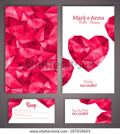Wedding invitation cards template with abstract polygonal heart Vector illustration