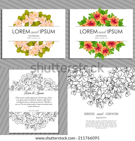 Wedding invitation cards with floral elements #211766095